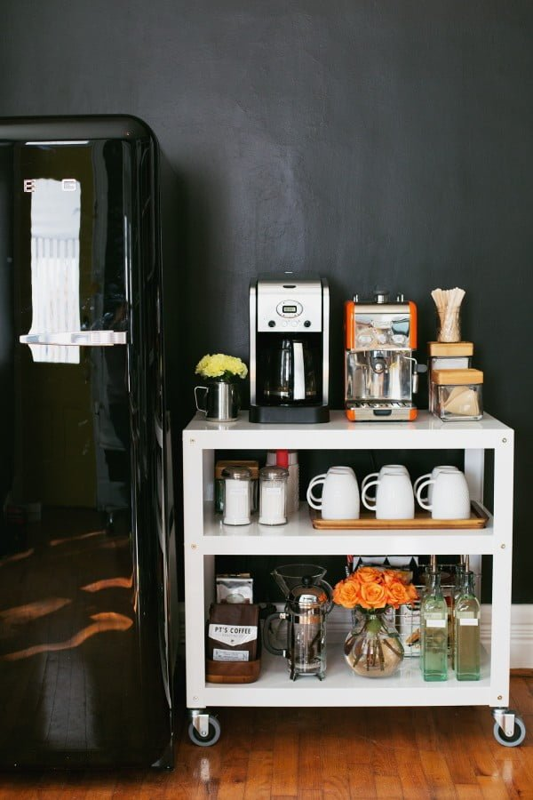 15 Simple DIY Ideas to Make the Best Coffee Station at Home - Brilliant idea for a coffee bar using a cart on wheels