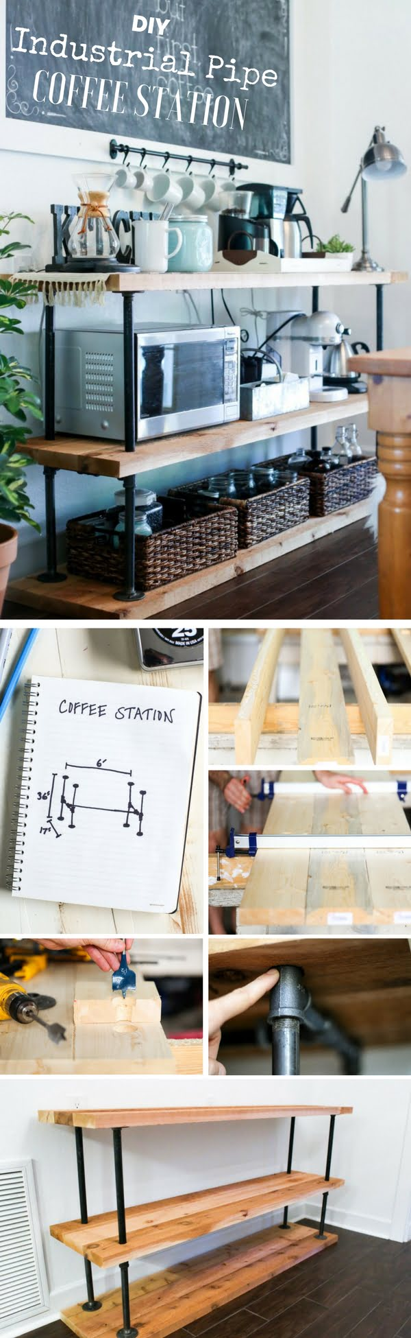15 Simple DIY Ideas to Make the Best Coffee Station at Home - Easy to build DIY Industrial Pipe Coffee Station
