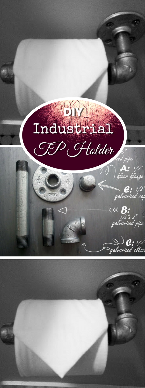 How to make a quick and easy #DIY industrial toilet paper holder #bathroomdecor