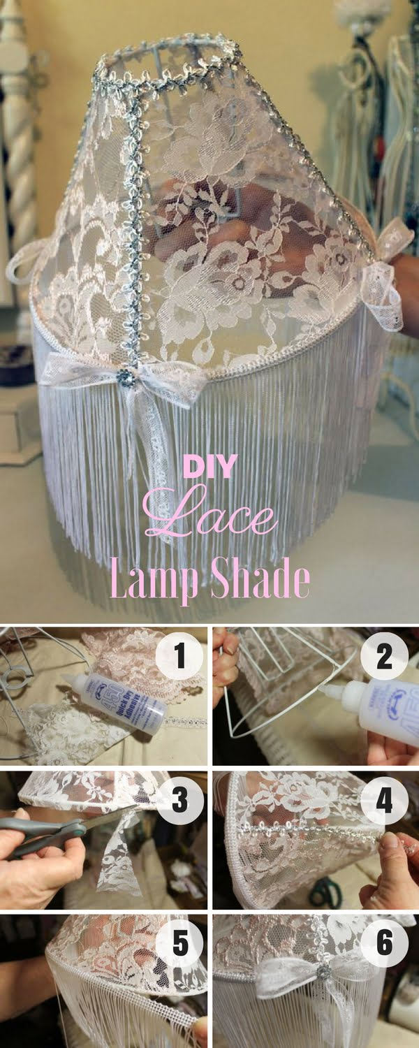 Check out how to make an easy shabby chic DIY Lace Lampshade