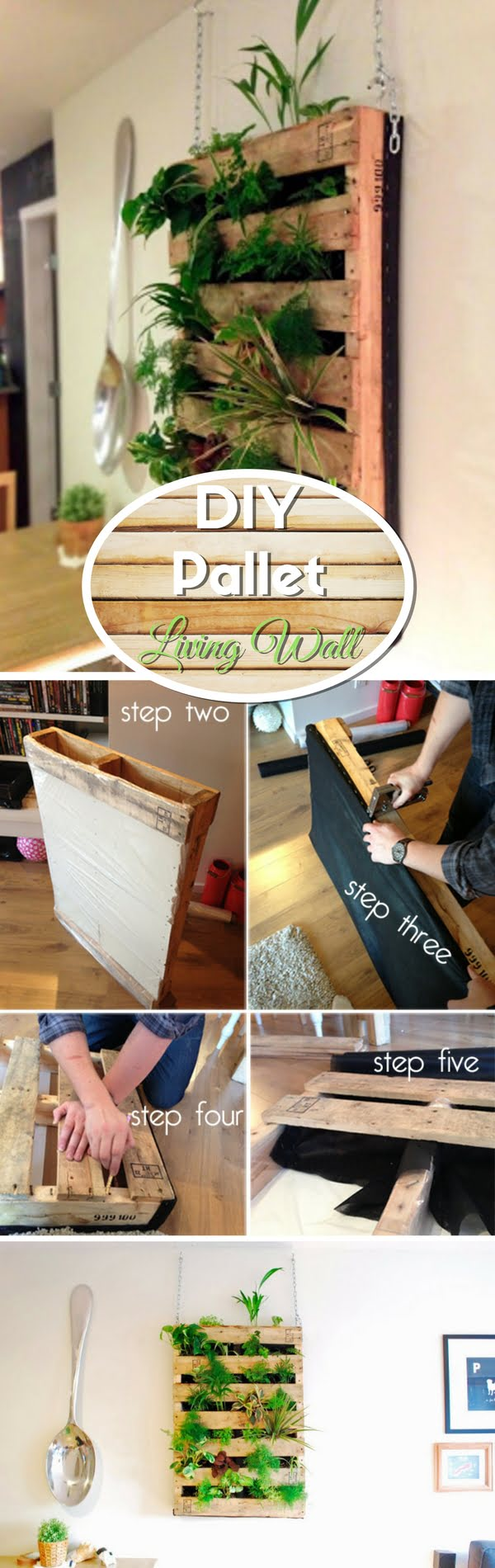 Check out how to make an easy DIY pallet living wall