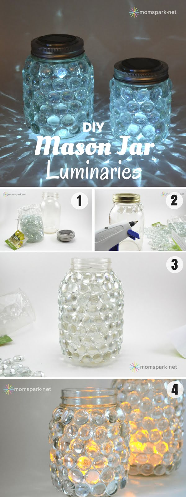 30 Stunning DIY Mosaic Craft Projects for Easy Home Decor - Check out how to make these easy DIY Mason Jar Luminaries