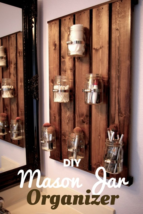 Mason Jar Organizer for rustic bathroom decor