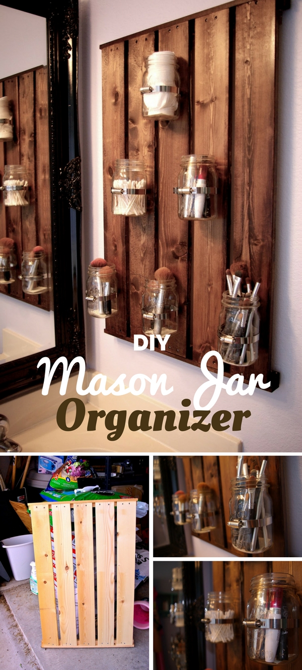 #DIY Mason Jar Organizer for rustic bathroom decor #bathroomdecor