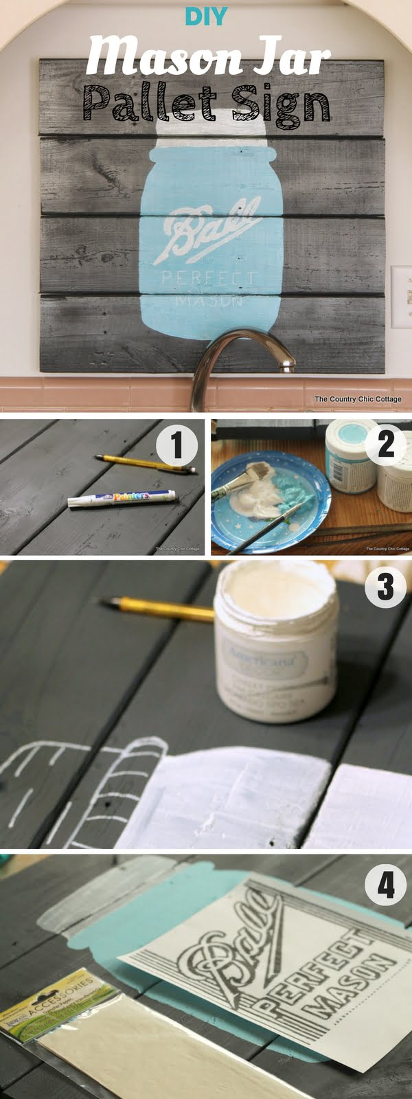 17 Fab DIY Farmhouse Signs You Can Make Yourself - Check out how to make easy DIY Mason Jar Pallet Sign