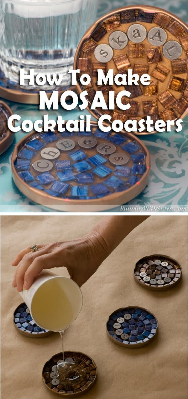30 Stunning DIY Mosaic Craft Projects for Easy Home Decor - Check out how to make easy DIY Mosaic Coasters