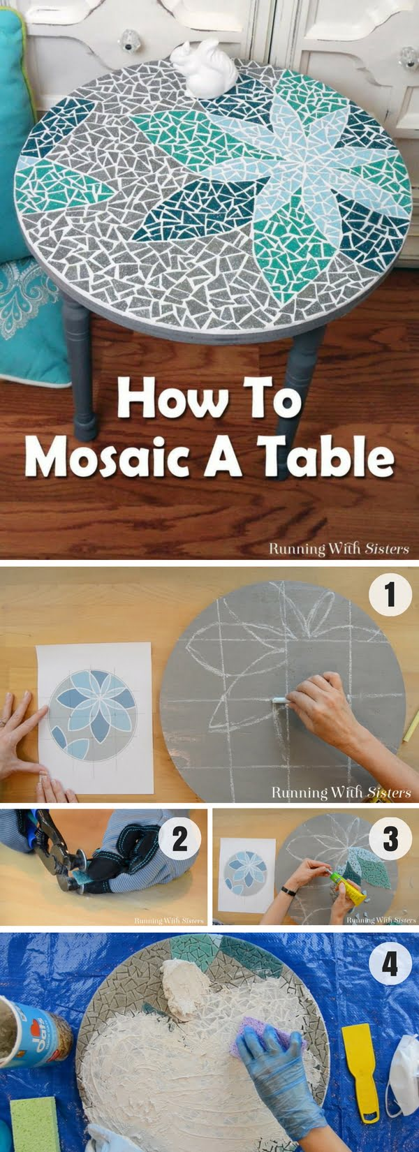 30 Stunning DIY Mosaic Craft Projects for Easy Home Decor - How to create a DIY tabletop mosaic