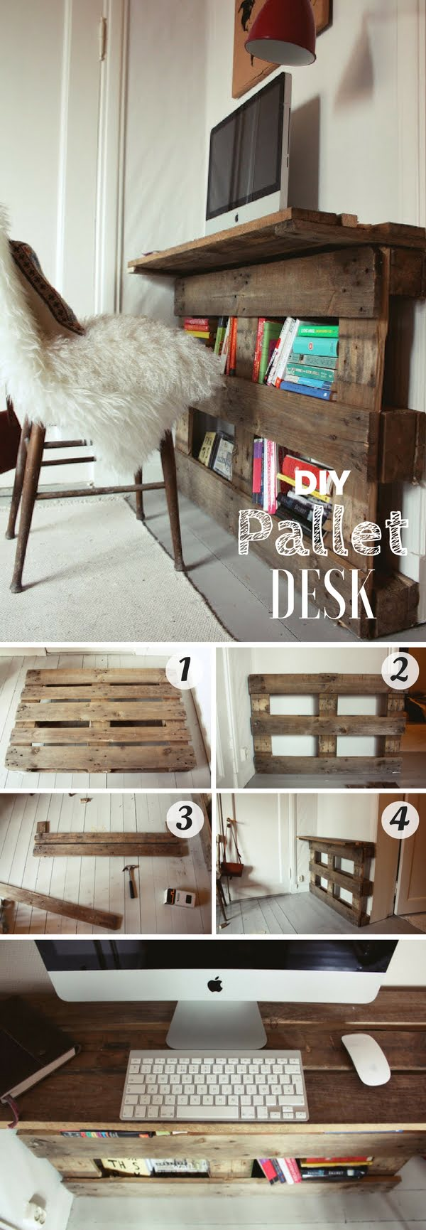 Easy tutorial for an awesome DIY pallet desk