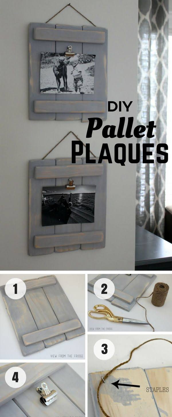20 Easy DIY Picture Frame Tutorials for Your Next Project - An easy tutorial for DIY Pallet Plaques from pallet wood @istandarddesign