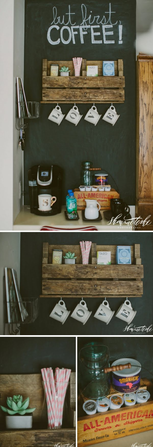 15 Simple DIY Ideas to Make the Best Coffee Station at Home - What a brilliant idea for a DIY rustic coffee bar with chalkboard