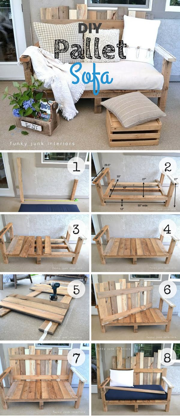An easy tutorial for an easy to build DIY sofa from pallet wood