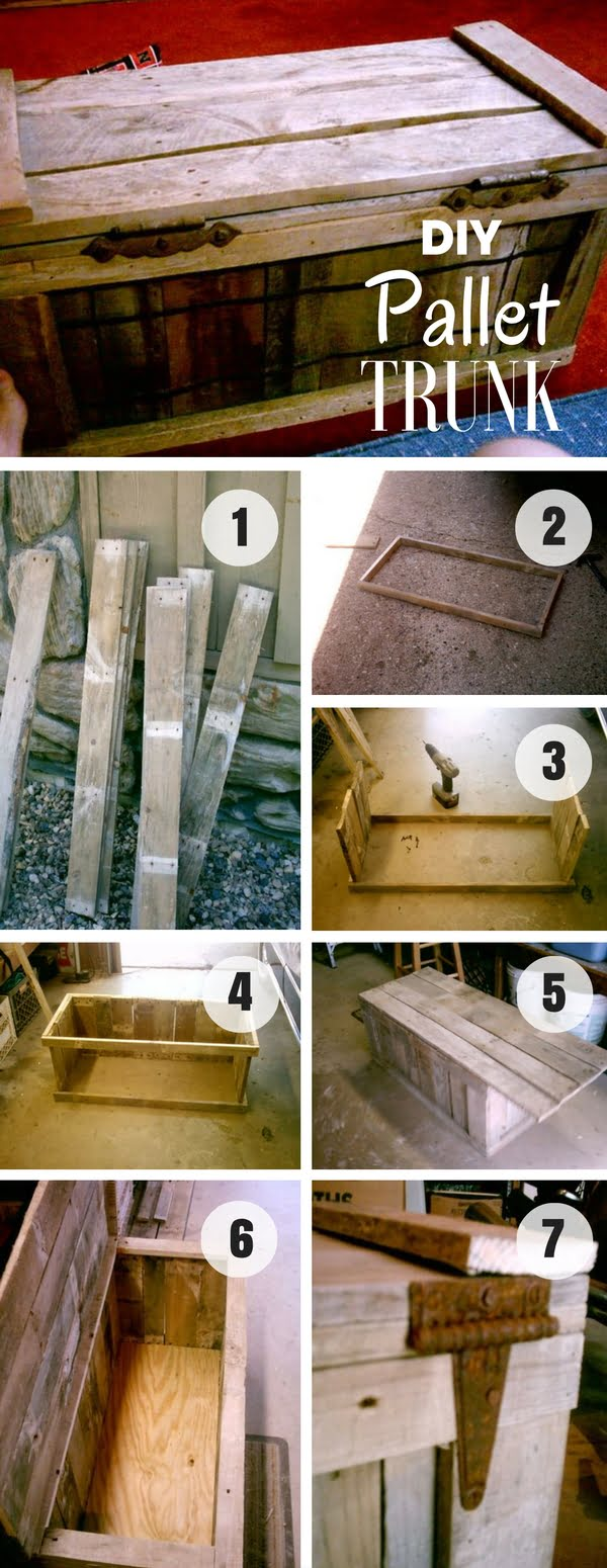 An easy tutorial to build a DIY trunk from pallet wood