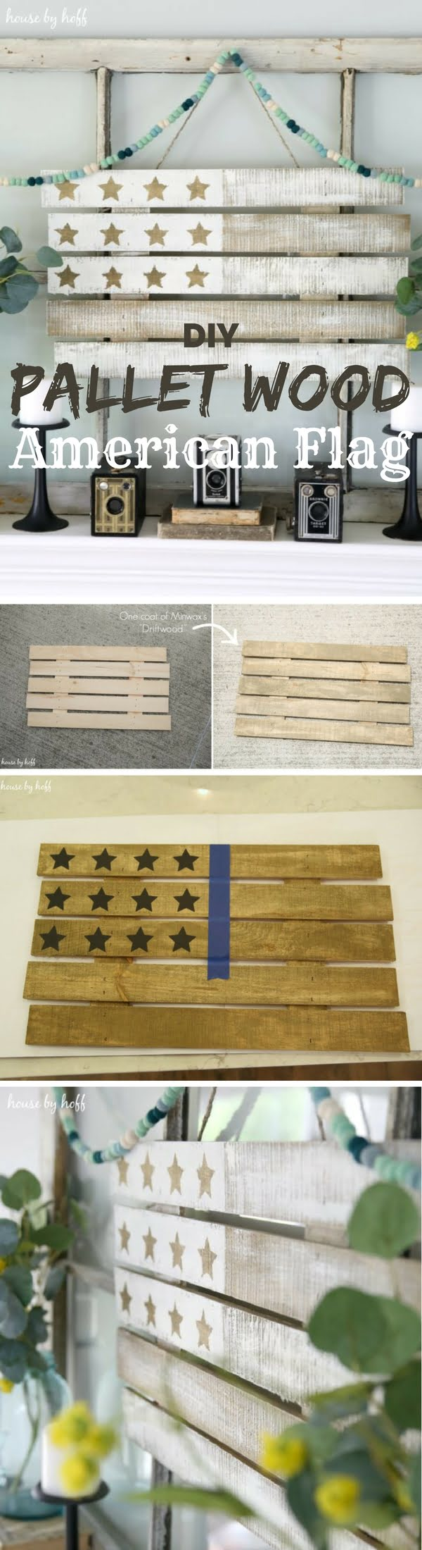 Check out how to make an easy DIY Pallet Wood American Flag