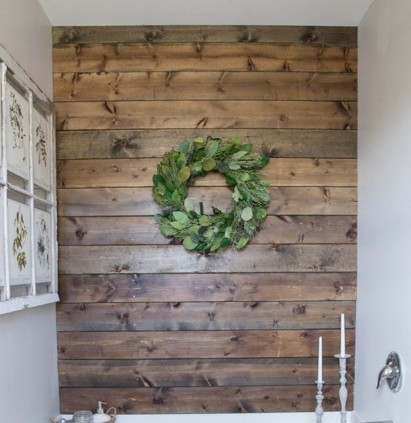 Plank Accent Wall for rustic bathroom decor