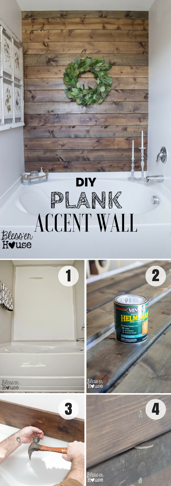 #DIY Plank Accent Wall for rustic bathroom decor #bathroomdecor