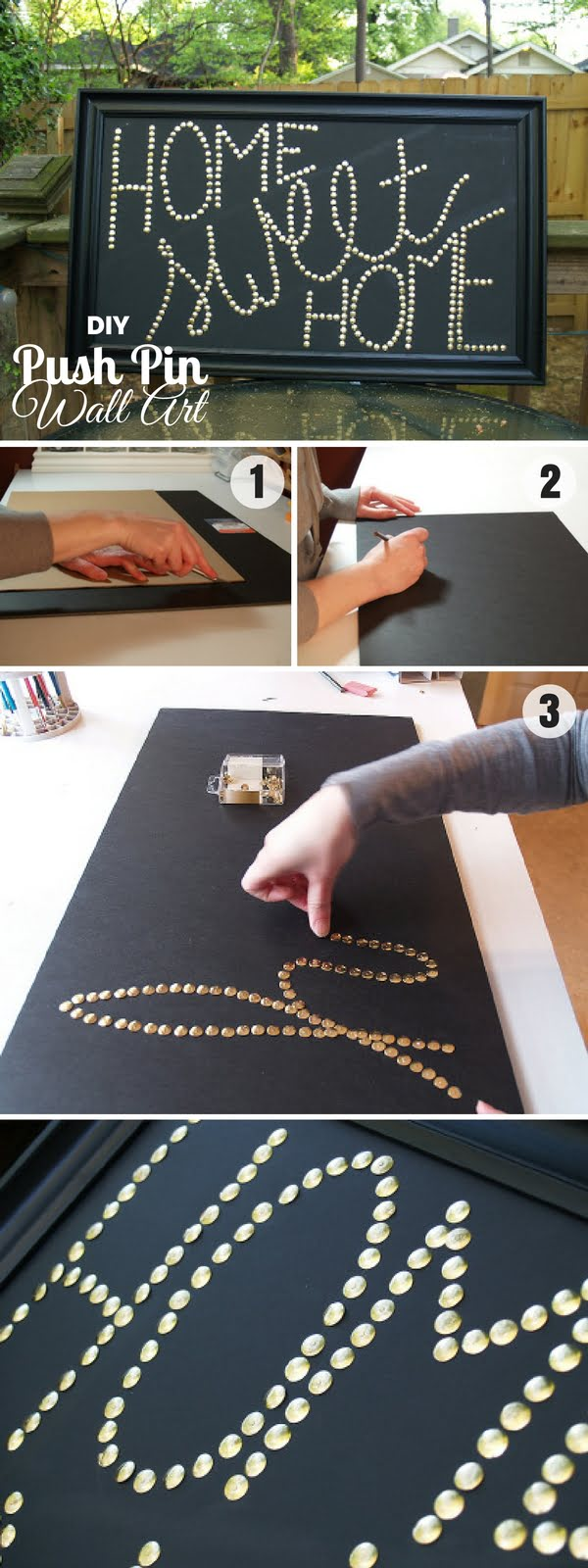 16 Beautiful DIY Bedroom Decor Ideas That Will Inspire You - Check out how to make easy DIY Push Pin Wall Art for bedroom decor