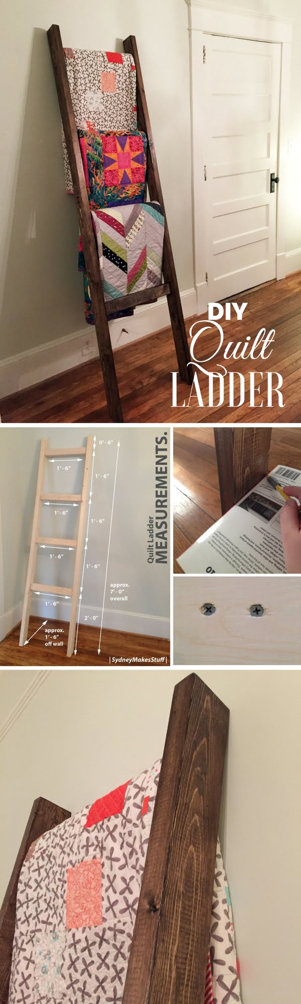 Check out how to build an easy DIY Quilt Ladder