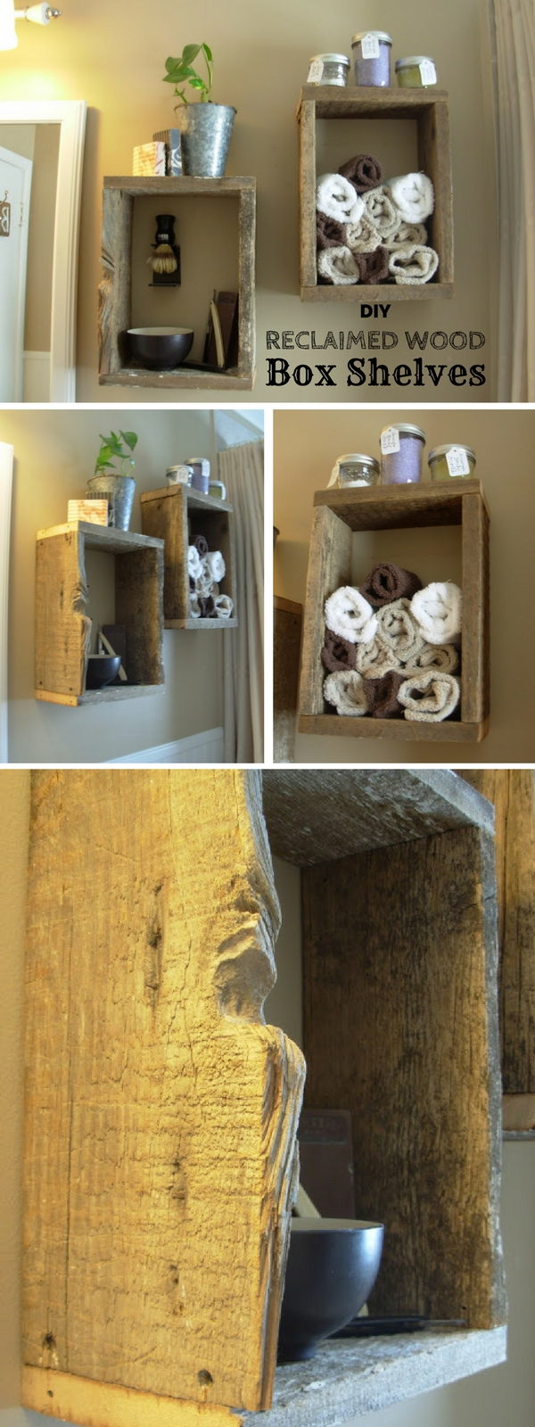 Check out this easy idea on how to build #DIY reclaimed wood box shelves for #rustic bathroom #homedecor #apartments #budget