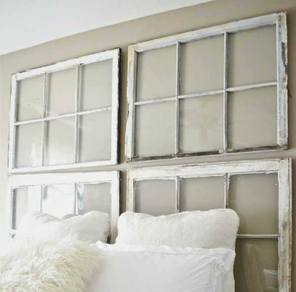 Check out how to build an easy DIY Repurposed Vintage Window Frame Headboard