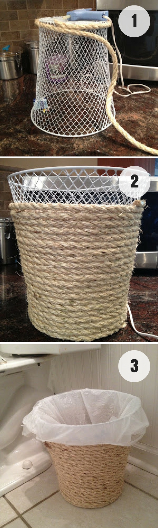 #DIY Rope Trash Can for rustic bathroom decor #bathroomdecor