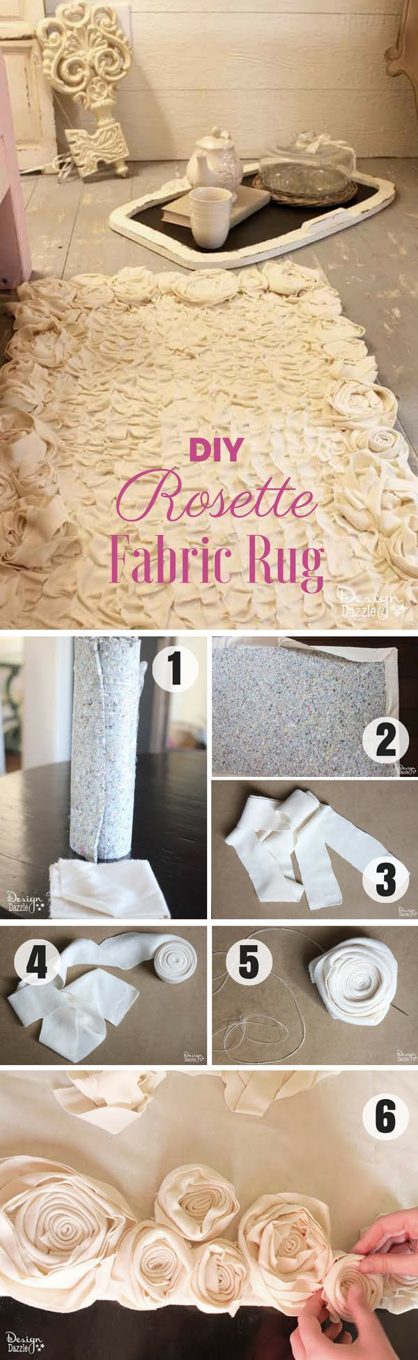 Check out how to make an easy shabby chic DIY Rrosette Fabric Rug
