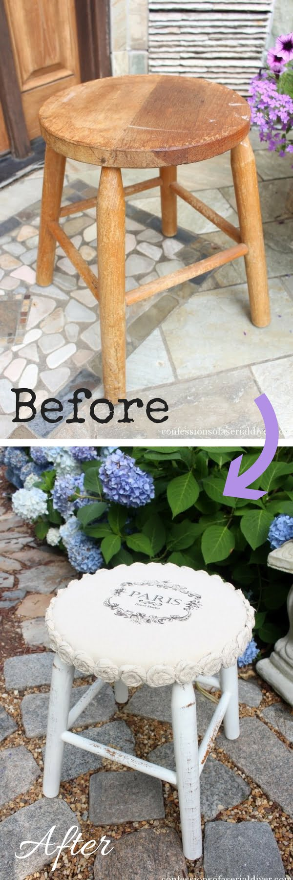 Check out how to make an easy DIY shabby chic Rosette Stool