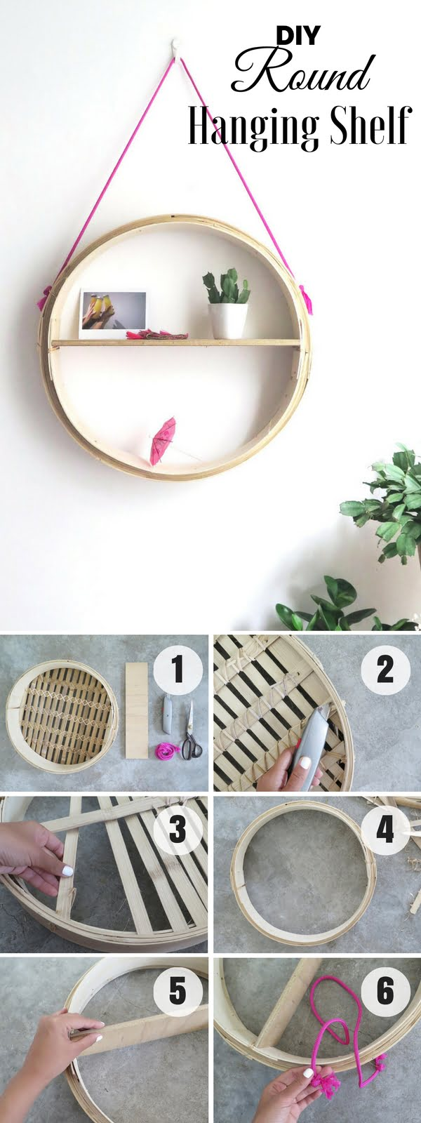 Check out how to make an easy DIY Round Hanging Shelf for bedroom decor