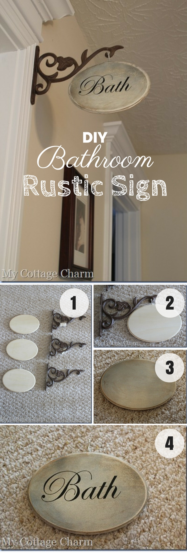 #DIY Rustic Bathroom Sign for rustic bathroom decor #bathroomdecor