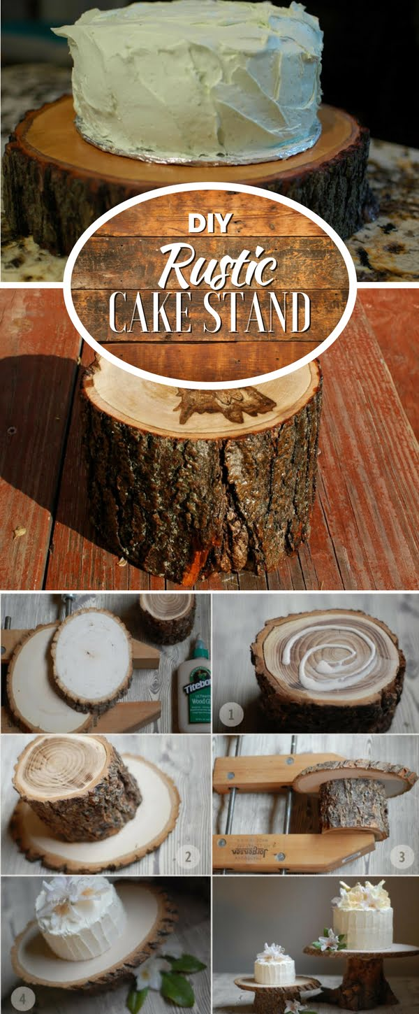 Check out how to make this adorable DIY rustic cake stand