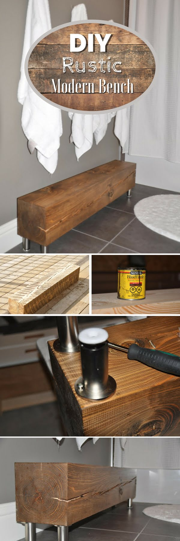 Check out how to build an easy DIY rustic modern bench