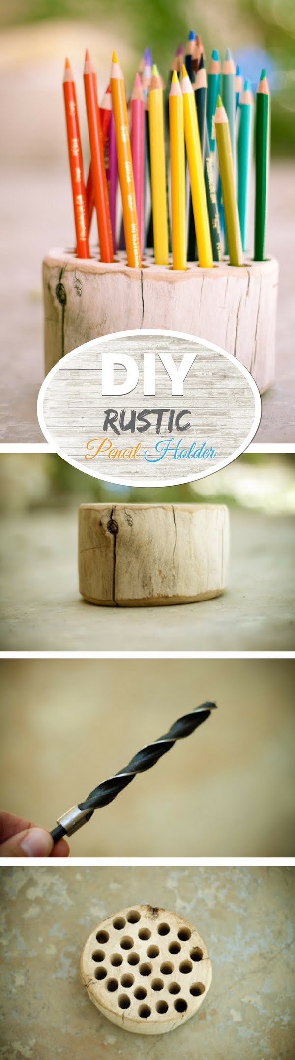Check out how to make an easy DIY rustic pencil holder