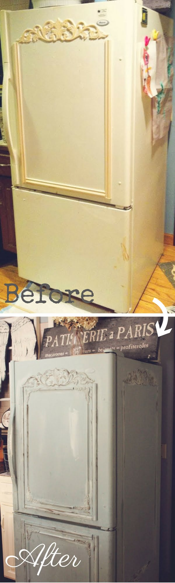 Check out how to make this easy DIY Shabby Chic Fridge Makeover
