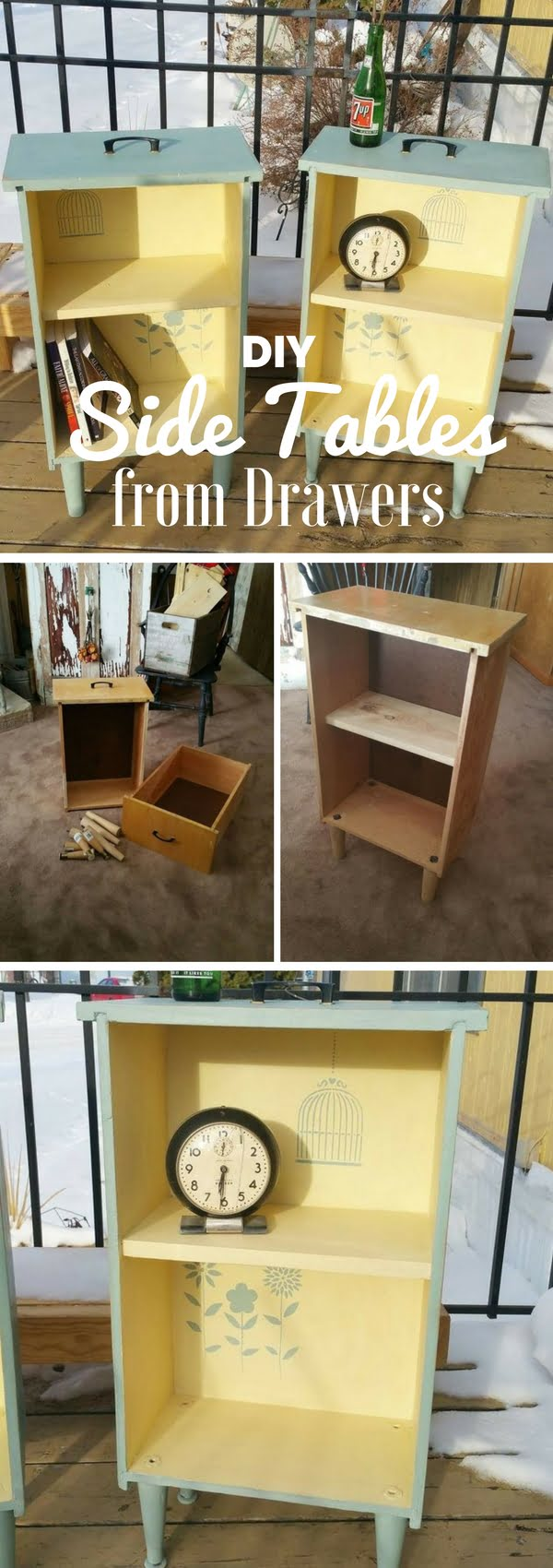 Check out how to make easy shabby chic DIY Side Tables from Drawers