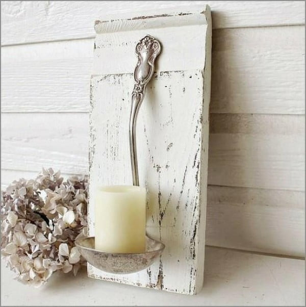 Love the idea of a shabby chic ladle candle holder