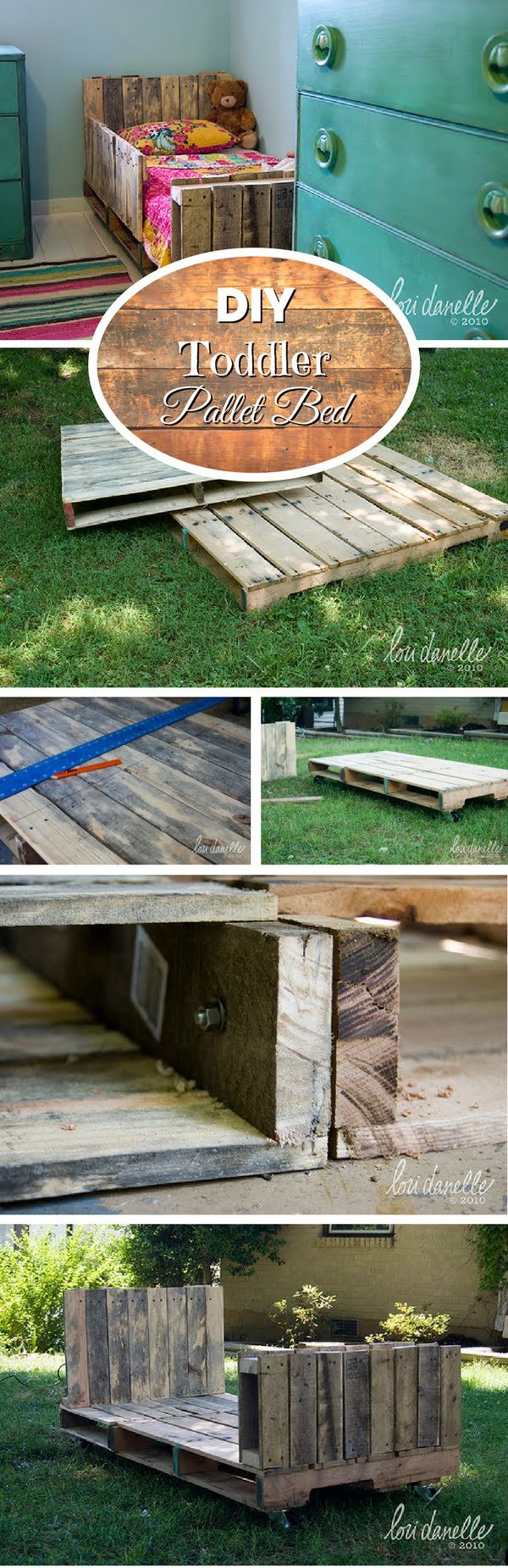 Check out how to build a DIY toddler pallet bed