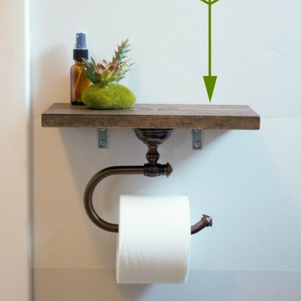 Toilet Paper Holder Shelf for rustic bathroom decor