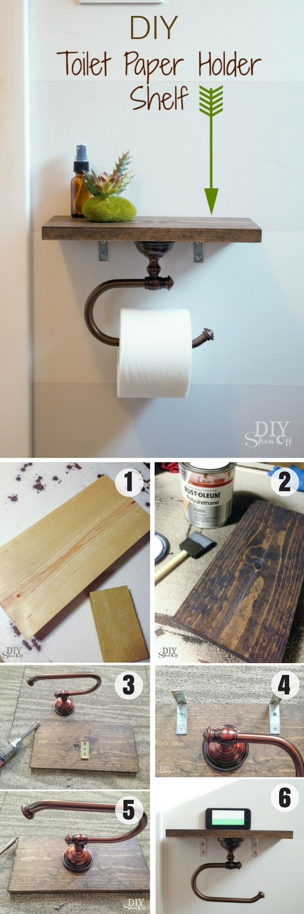 #DIY Toilet Paper Holder Shelf for rustic bathroom decor #bathroomdecor