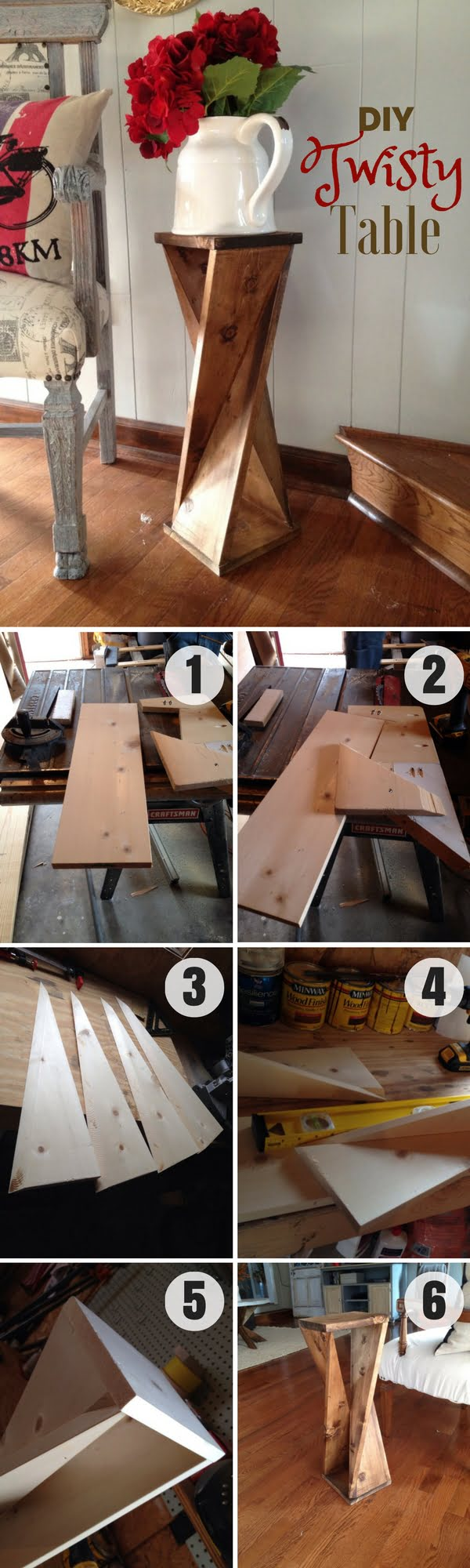 Check out how to make this easy DIY Twisty Table