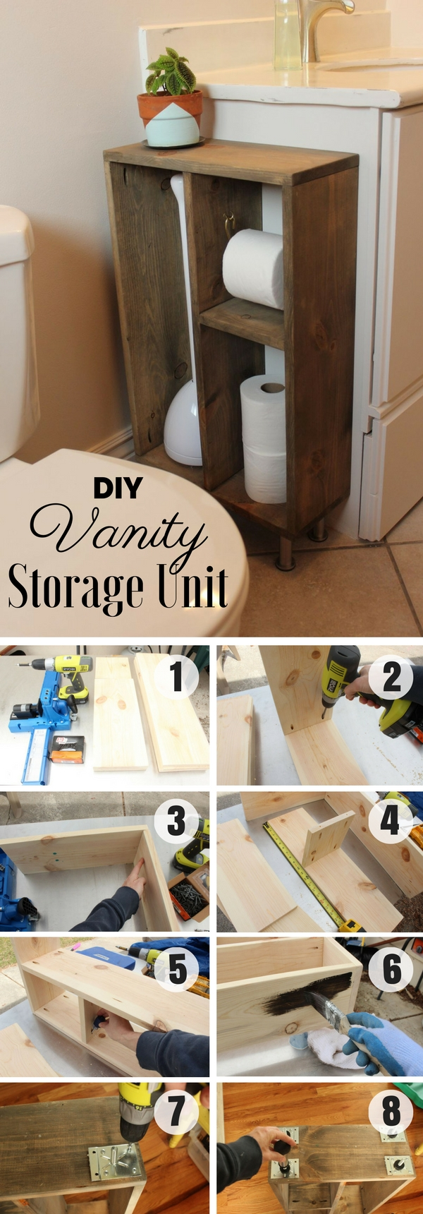 #DIY Vanity Storage Unit for rustic bathroom decor #bathroomdecor
