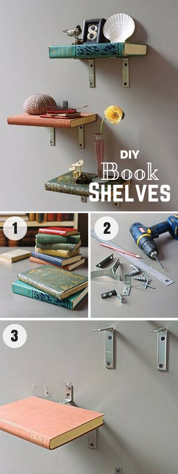 16 Beautiful DIY Bedroom Decor Ideas That Will Inspire You - Check out how to make easy DIY Vintage Book Shelves for bedroom decor