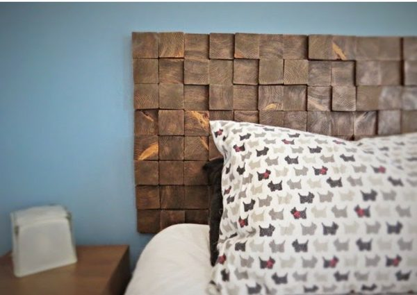 Check out how to build a DIY Wood Block Headboard