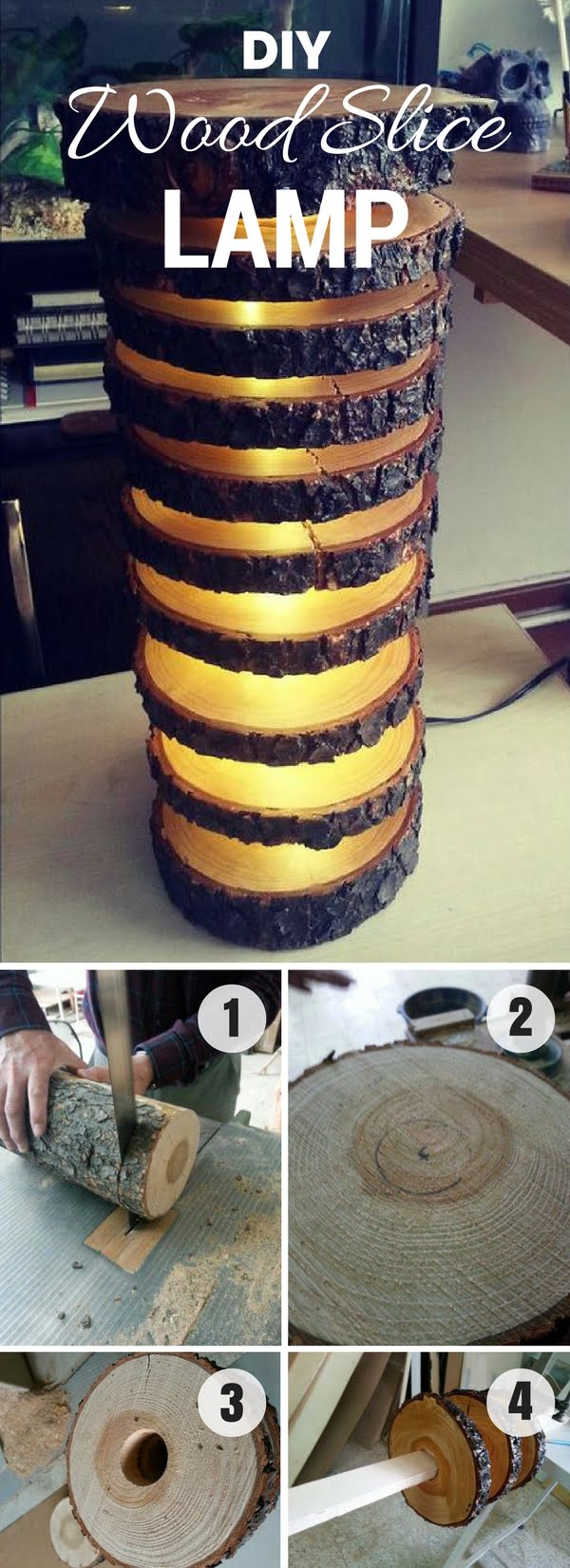 Check out how to build an easy DIY Wood Slice Lamp