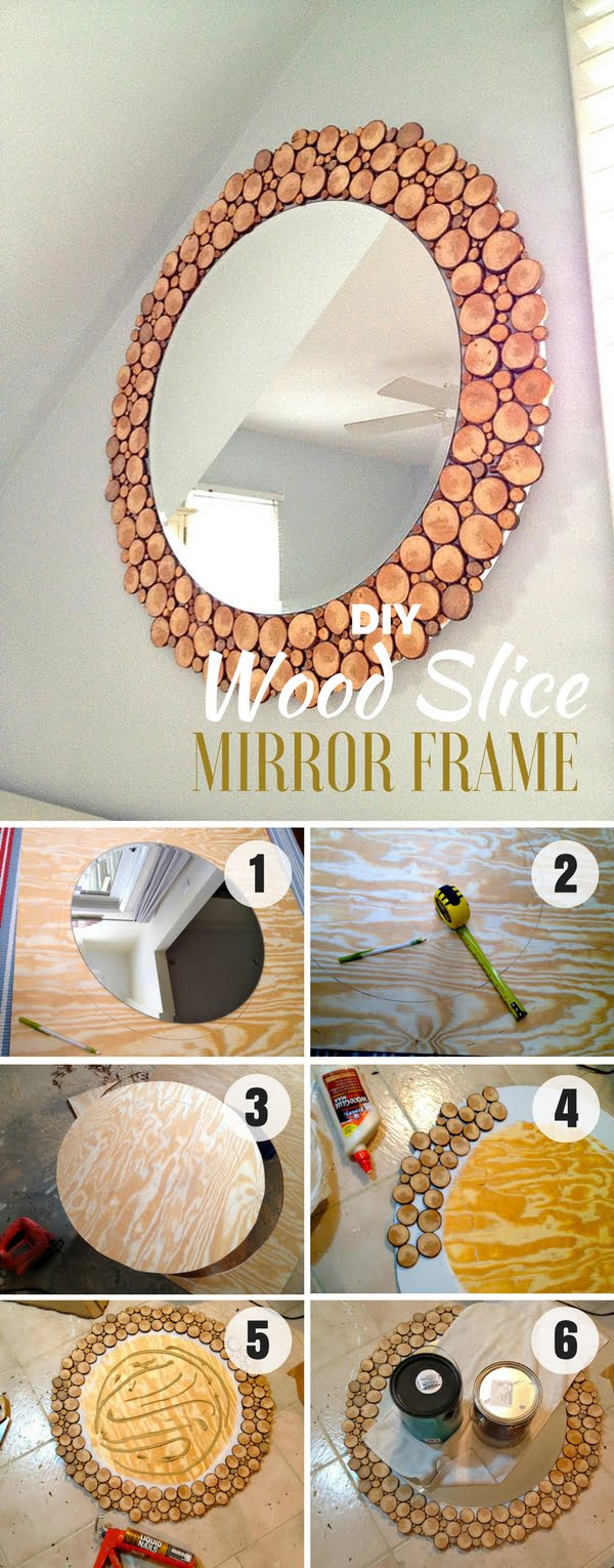 Check out how to build this easy DIY Wood Slice Mirror Frame
