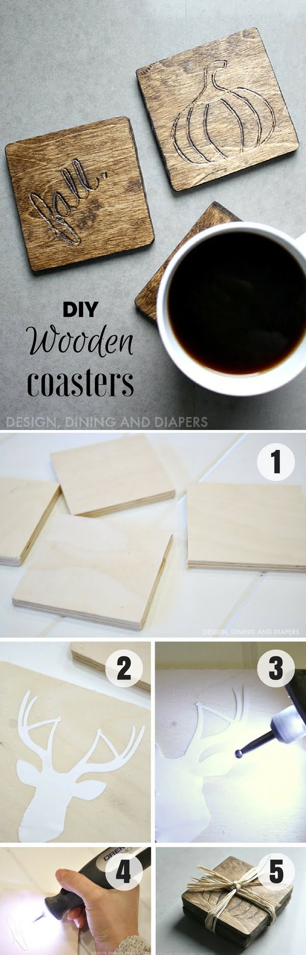 Check out how to make easy DIY Wooden Coasters