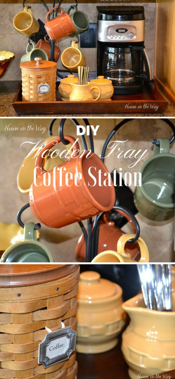 Very easy to build DIY Wooden Tray Coffee Station