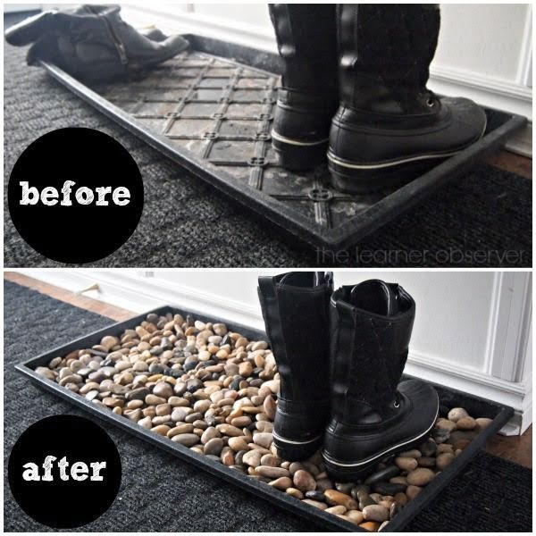 Easy to make DIY Mudroom Mat home decor with pebbles