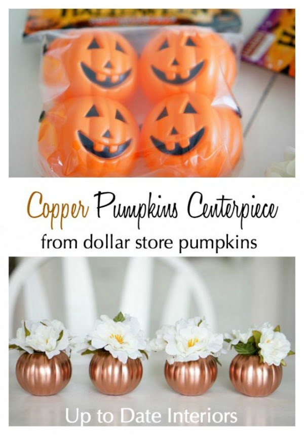 Love the idea for DIY copper pumpkin centerpiece for lovely Thanksgiving decor