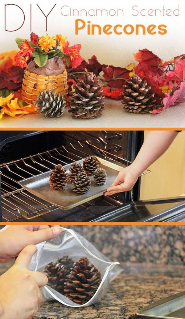 Make easy DIY cinnamon scented pinecones for Thanksgiving decor