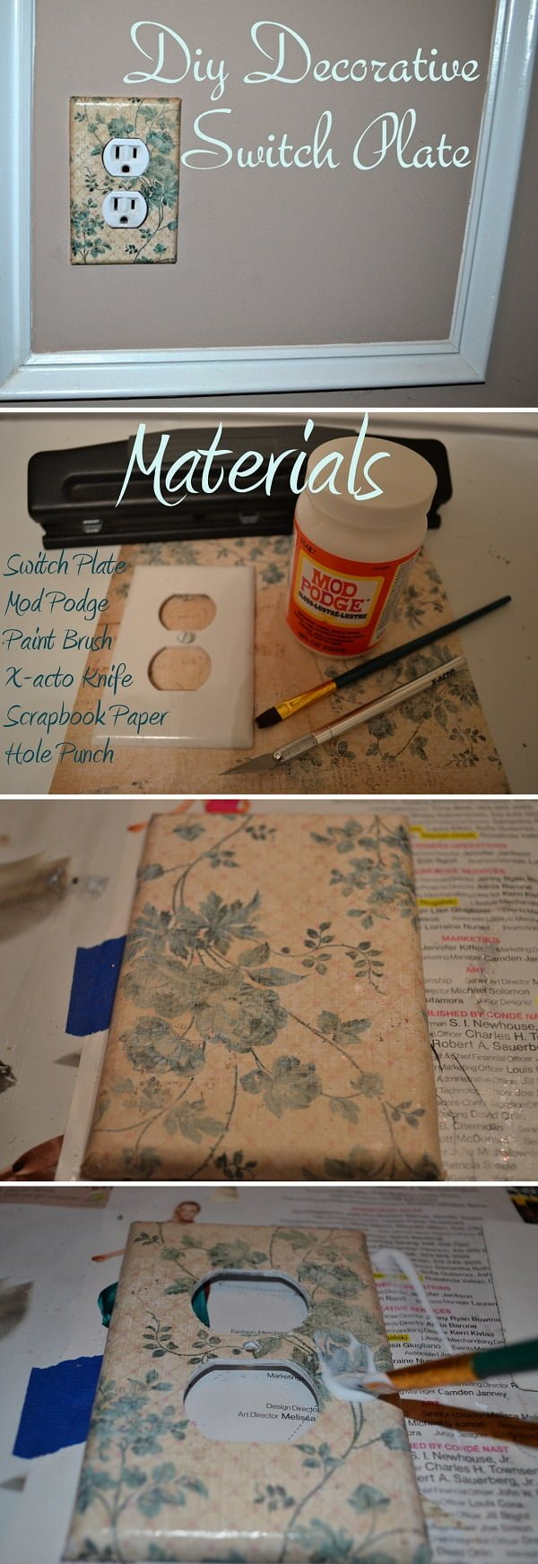 Check out this easy idea on how to make a  decorative light switch cover for  on a
