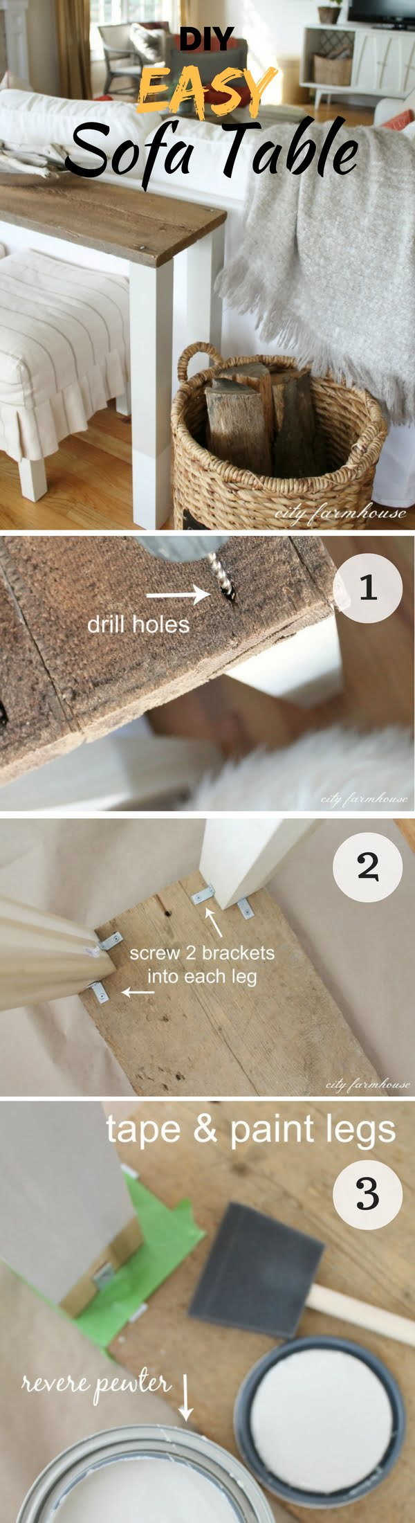 Check out how to make this easy DIY sofa table form reclaimed wood